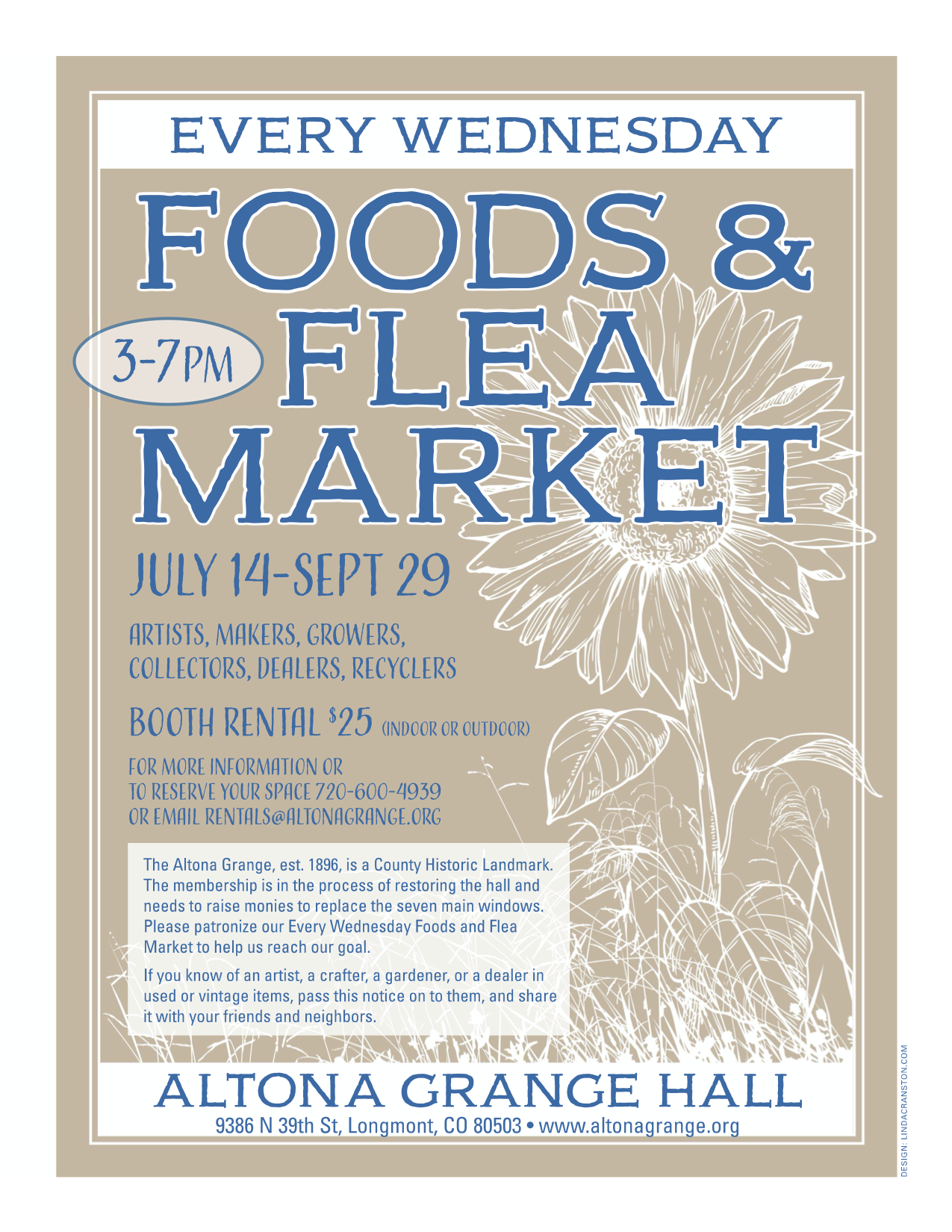 Foods & Flea Market Every Wednesday from July 14th - Sept 29th